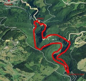 Plan du parcours gorges de Nouailles source de la Loue
