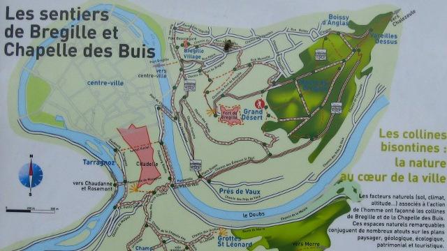 Plan des sentiers de Bregille et des buis