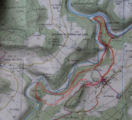 carte du Lison à Lizine