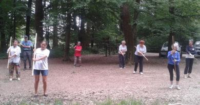 Tai Chi avec bâton en forêt